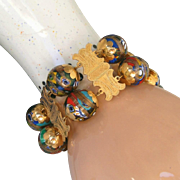 Antique Victorian Museum Quality 22kt Gold Grand Tour Extra Wide Bracelet, c.1900, Millefiori Glass Balls with Spun Gold