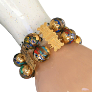 Antique Victorian Museum Quality 22kt Gold Grand Tour Extra Wide Bracelet, c.1900, Millefiori Glass Balls with Spun Gold