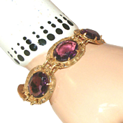 Antique Purple Stone & Brass Bracelet with Buckle Closure