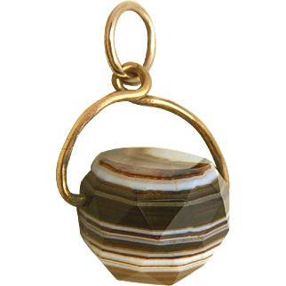 Antique Natural Banded Agate Spinner Basket Charm or Fob