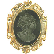 Large Black Glass Antique Cameo Pin, Over 2 Inches Long!