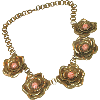 Brass Cabbage Rose & Pink Coral Speckled Glass Centers Bookchain Antique Necklace