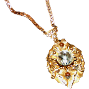 Gorgeous Antique Brass Drop Necklace, Pointed Nipple Mirrored Vauxhall Glass Stone & Cabochons
