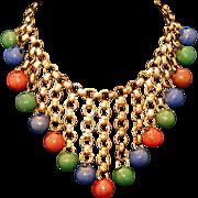 Antique Brass Fringe Bookchain Necklace Enamel Ball Drops, c.1885