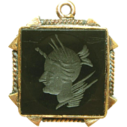 Onyx & Gold Filled Intaglio Cameo Antique Charm
