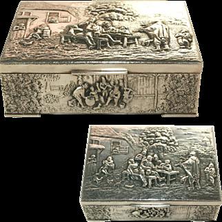 Antique Sterling Silver Dutch Cedar Lined Desk Box