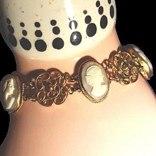 Antique Gold Gilt Filigree Carved Shell Cameo Bracelet