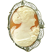 Antique Sterling Silver Frame & Carved Shell Cameo Brooch, Pin