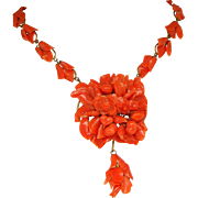 A Spectacular Museum Quality Antique Victorian Carved Coral 10k Gold Necklace