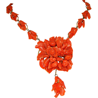 A Spectacular Museum Quality Antique Victorian Carved Coral Necklace