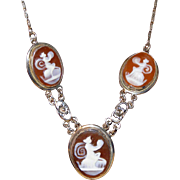 Antique Edwardian Necklace of 3 Mythical Muses, Nymohs?, on Three Carved Shell Cameos, White GF