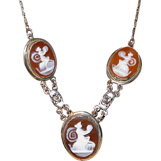 3 Mythical Creatures (Muses, Nymphs?) on 3 Carved Shell Cameos White GF Antique Edwardian Necklace