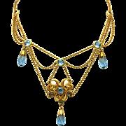 Edwardian Antique Blue Briolette Drops & Pearl Chips Fringed Bib Festoon Gold Filled Necklace