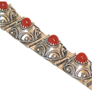 Etruscan Revival Antique Sterling Silver & Domed Carnelian Stones Wide Bracelet, c.1860