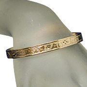 Antique Gold Filled Repousse Worked Designs on Entire Hinged Bangle