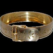Antique Victorian Gold Filled Incised Buckle Bracelet, Signed Hayward