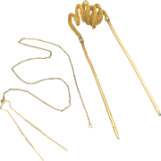 Antique Victorian Pins for Hair, Gold & Plated