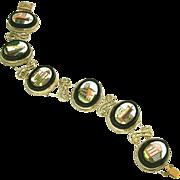Antique Grand Tour Micro Mosaic Six Panel Slide Bracelet