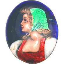 Antique Made in France Metallic Enamel Cameo Only, Signed