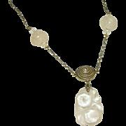 Antique Sterling Silver Pastel Carved Rose Quartz Asian Lavaliere Style Necklace