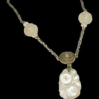 Antique Sterling Silver Pastel Rose Quartz Lavaliere Asian Carving Necklace