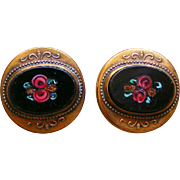 Antique GF, Gold Plated or Rolled Pietra Dura Cuff Links or Button Studs