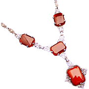 Antique Sterling Silver & Polished Carnelian with Marcasite Lavalier Necklace