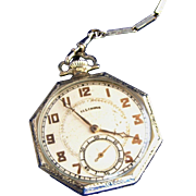 Antique Sterling Silver Swank Watch Chain & Sterling Silver Rare Working Illinois Pocket Watch, Signed