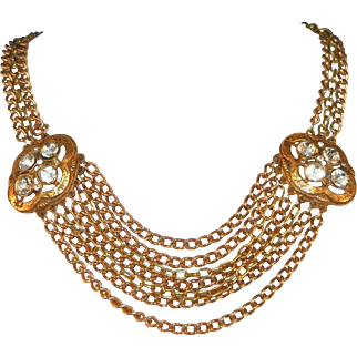 Antique Swagged Chains Festoon Brass Necklace, Large Accent Stones