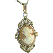Antique Sterling Silver Marcasite Shell Cameo Pendant Necklace
