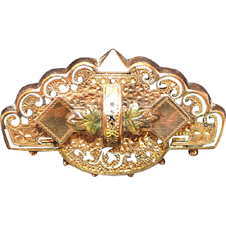 """Antique Taille D""""Epargne Tri-Color Black Hills Gold Filled Watch Pin"""