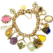 Antique Chunky Charms on Gold Filled Bracelet, Cameo, Real Amethyst, Carved Jade