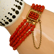 Amazing Antique Victorian Carved Red Coral 4 Strand Bracelet, 14kt Clasp & Safety Chain
