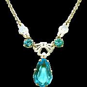 Antique Victorian Cut Work Sterling Silver, Aqua Blue Stone Lavaliere Drop Necklace