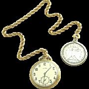 10Kt Gold Clad or Gold Filled Antique Working Elgin Pocket Watch, Engraved Hunter Case