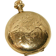 10Kt Gold Clad or Gold Filled Antique Working Elgin Pocket Watch, Engraved Hunter Case