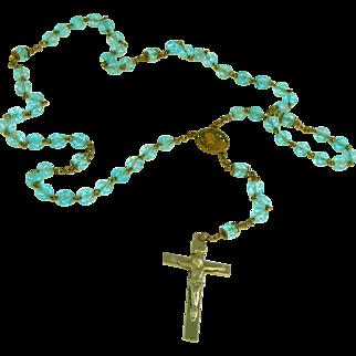 Aqua Cut Glass Beads, Vintage Rosary