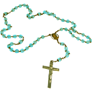 Aqua Blue Cut Glass Beads, Vintage Rosary