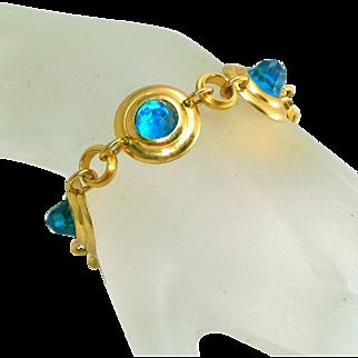 Art Deco High Domed Faceted Bezel Set Aqua Stones Vintage Link Bracelet