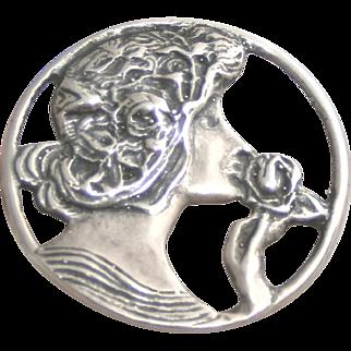 Sterling Silver Art Nouveau Woman Pin Pendant on Chain Necklace