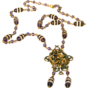 Art Nouveau Woman with Flowing Hair Amethyst Glass & Brass c.1910 Antique Necklace