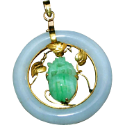 Large Carved Jade & 14k Gold Vintage Pendant Signed 585