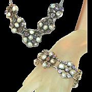 Austro Hungarian Sterling Silver Amethyst & Pearl Necklace, Bracelet Set, 3.6 Ounces