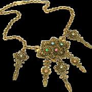 Austro Hungarian Necklace, Multi Colored Stones, Five Drops