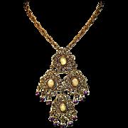 Stunning Glass Opal & Rhinestones Vintage Austro Hungarian Large Drop Necklace