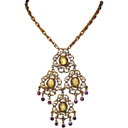 Stunning Glass Opal & Rhinestones Vintage Austro Hungarian Large Drop Necklace