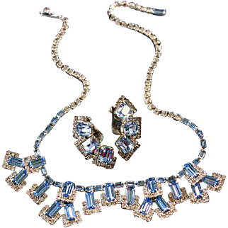 Vintage Weiss Signed Beautiful Baby Blue & Diamante Necklace, Large Earrings Set