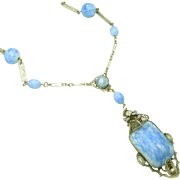 Beautiful Art Deco Era Sky Blue Glass, Enamel & Filigree Lavaliere Necklace, Paper Clip Chain