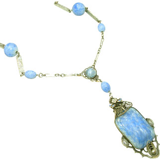 Beautiful Art Deco Era Sky Blue Glass, Enamel & Filigree Lavaliere Necklace, Paper Clip Chain