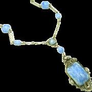 Art Deco Era Sky Blue Glass, Enamel & Filigree Lavaliere Necklace, Paper Clip Chain